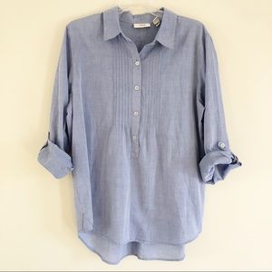 Chico's | Blue Chambray Popover Shirt | 2